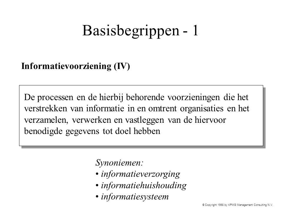 © Copyright 1998 by KPMG Management Consulting N.V. Basisbegrippen - 1 Informatievoorziening (IV) De processen en de hierbij behorende voorzieningen d