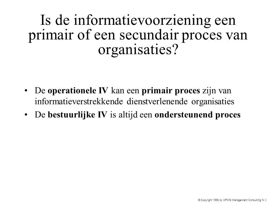 © Copyright 1998 by KPMG Management Consulting N.V. Is de informatievoorziening een primair of een secundair proces van organisaties? De operationele