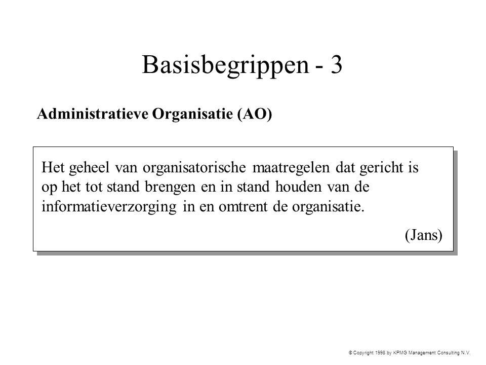 © Copyright 1998 by KPMG Management Consulting N.V. Basisbegrippen - 3 Administratieve Organisatie (AO) Het geheel van organisatorische maatregelen da