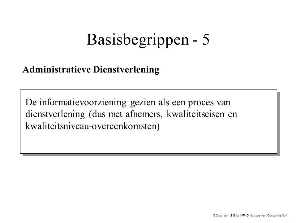 © Copyright 1998 by KPMG Management Consulting N.V. Basisbegrippen - 5 Administratieve Dienstverlening De informatievoorziening gezien als een proces