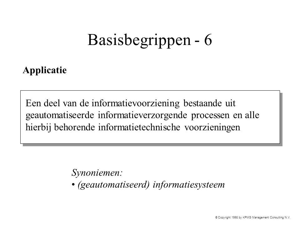 © Copyright 1998 by KPMG Management Consulting N.V. Basisbegrippen - 6 Applicatie Een deel van de informatievoorziening bestaande uit geautomatiseerde