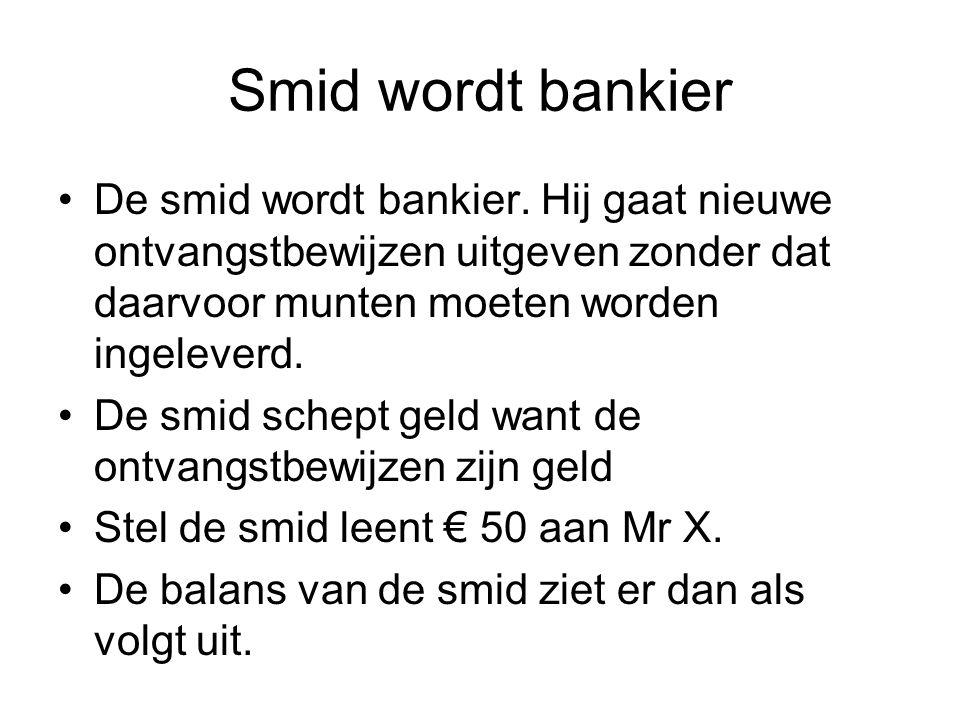 Smid wordt bankier De smid wordt bankier. Hij gaat nieuwe ontvangstbewijzen uitgeven zonder dat daarvoor munten moeten worden ingeleverd. De smid sche