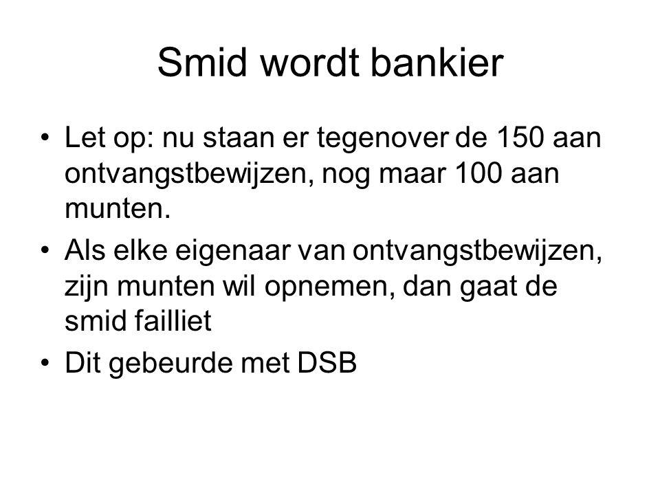Smid wordt bankier Let op: nu staan er tegenover de 150 aan ontvangstbewijzen, nog maar 100 aan munten. Als elke eigenaar van ontvangstbewijzen, zijn