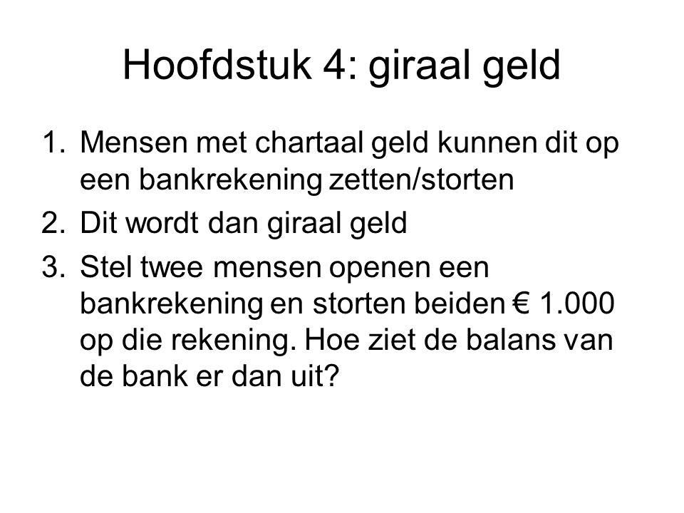 Hoofdstuk 4: giraal geld 1.Mensen met chartaal geld kunnen dit op een bankrekening zetten/storten 2.Dit wordt dan giraal geld 3.Stel twee mensen opene