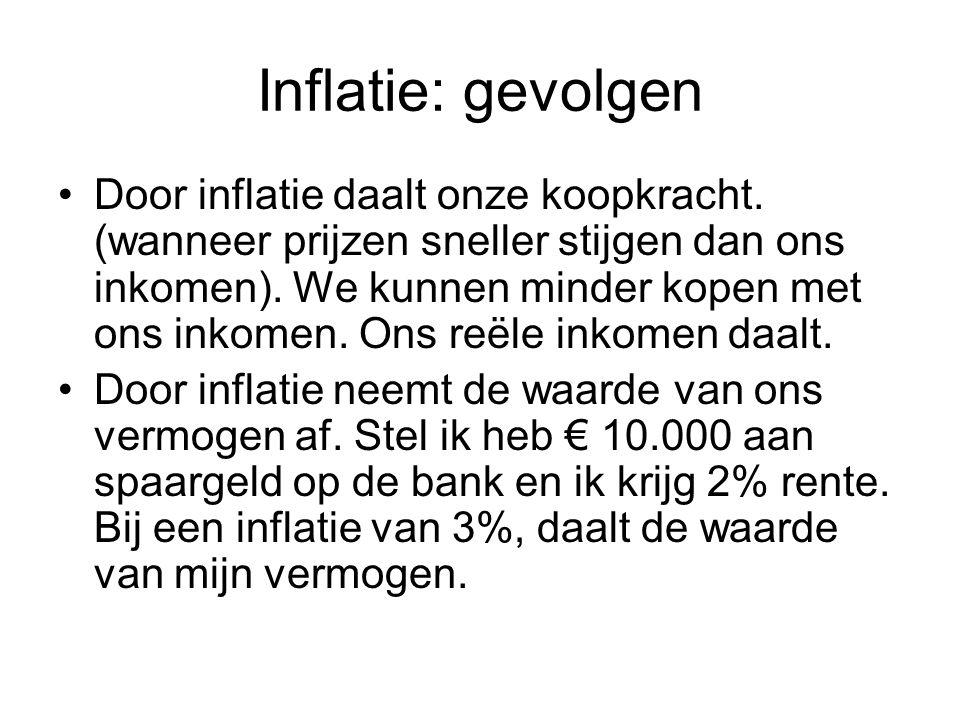 Inflatie: gevolgen Door inflatie daalt onze koopkracht. (wanneer prijzen sneller stijgen dan ons inkomen). We kunnen minder kopen met ons inkomen. Ons