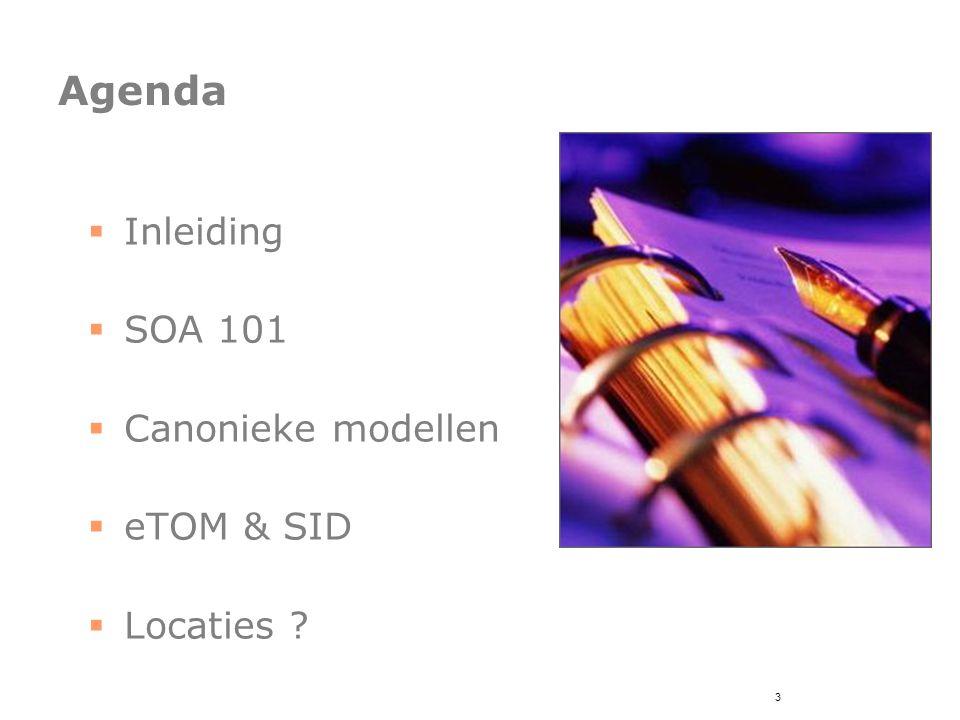 4 Agenda  Inleiding  SOA 101  Canonieke modellen  eTOM & SID  Locaties ?