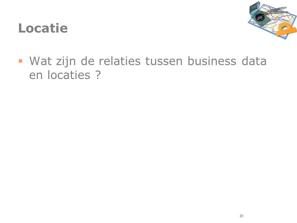 31 Locatie  Wat zijn de relaties tussen business data en locaties