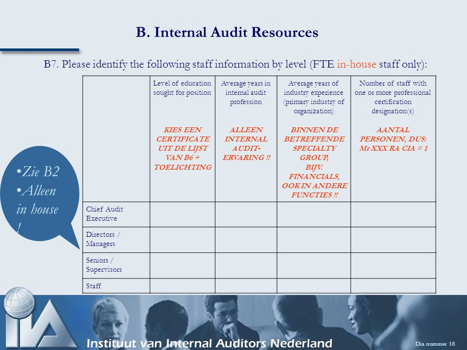 B. Internal Audit Resources Dia nummer 18 B7.