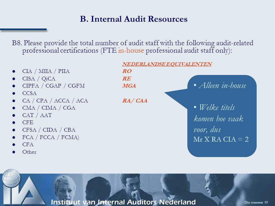 B. Internal Audit Resources Dia nummer 19 B8.