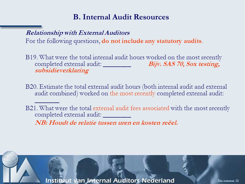 B. Internal Audit Resources Dia nummer 22 Relationship with External Auditors For the following questions, do not include any statutory audits. B19. W