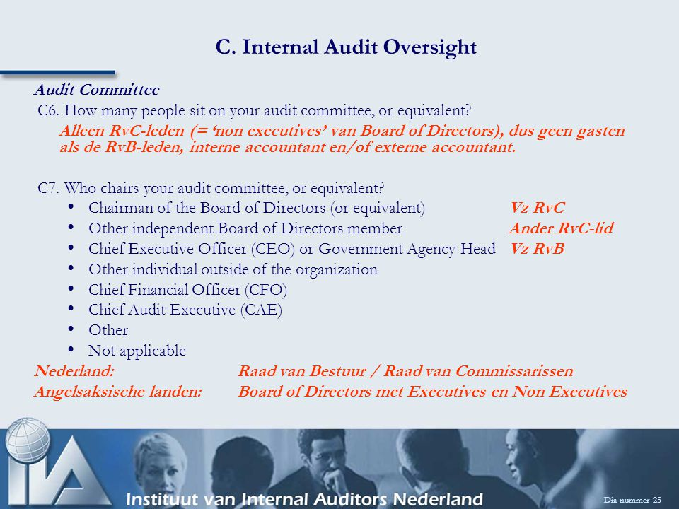 C. Internal Audit Oversight Dia nummer 25 Audit Committee C6.