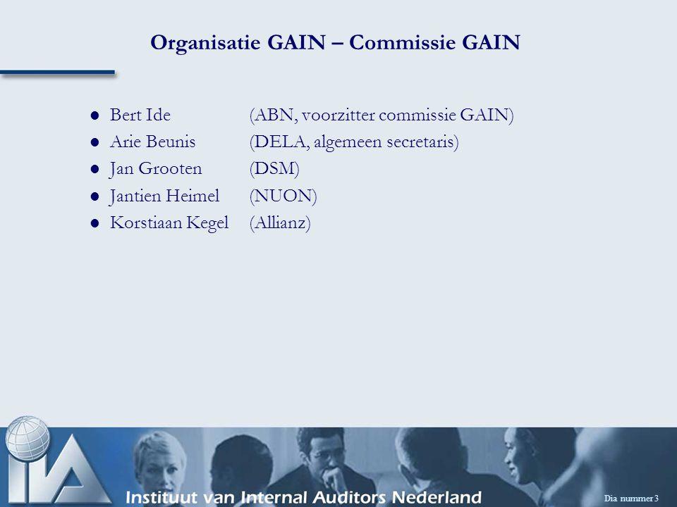 Dia nummer 3 Organisatie GAIN – Commissie GAIN Bert Ide(ABN, voorzitter commissie GAIN) Arie Beunis (DELA, algemeen secretaris) Jan Grooten(DSM) Jantien Heimel(NUON) Korstiaan Kegel(Allianz)