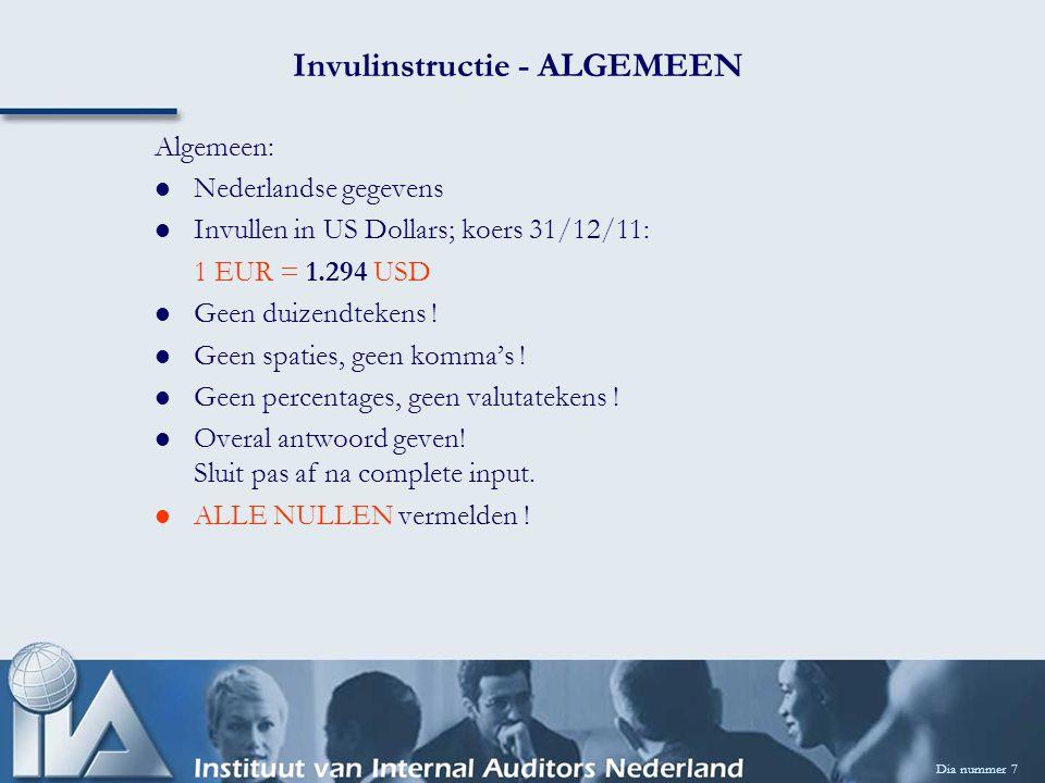 Dia nummer 7 Invulinstructie - ALGEMEEN Algemeen: Nederlandse gegevens Invullen in US Dollars; koers 31/12/11: 1 EUR = 1.294 USD Geen duizendtekens .