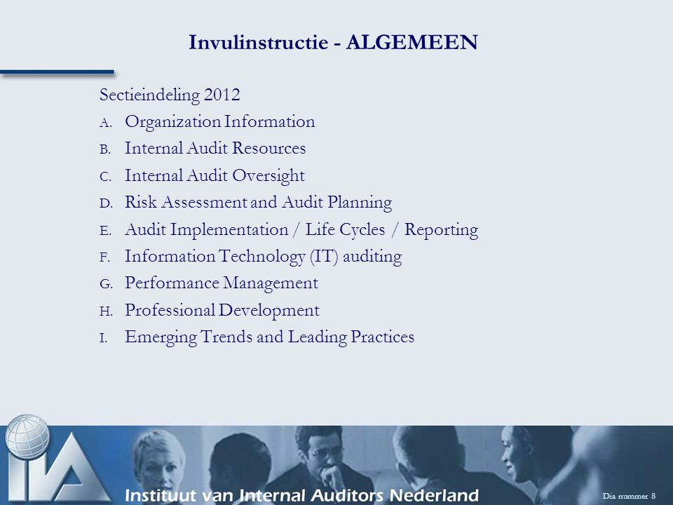 B.Internal Audit Resources Dia nummer 19 B8.