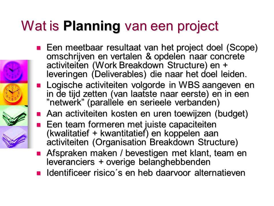 Wat is Planning van een project Een meetbaar resultaat van het project doel (Scope) omschrijven en vertalen & opdelen naar concrete activiteiten (Work Breakdown Structure) en + leveringen (Deliverables) die naar het doel leiden.