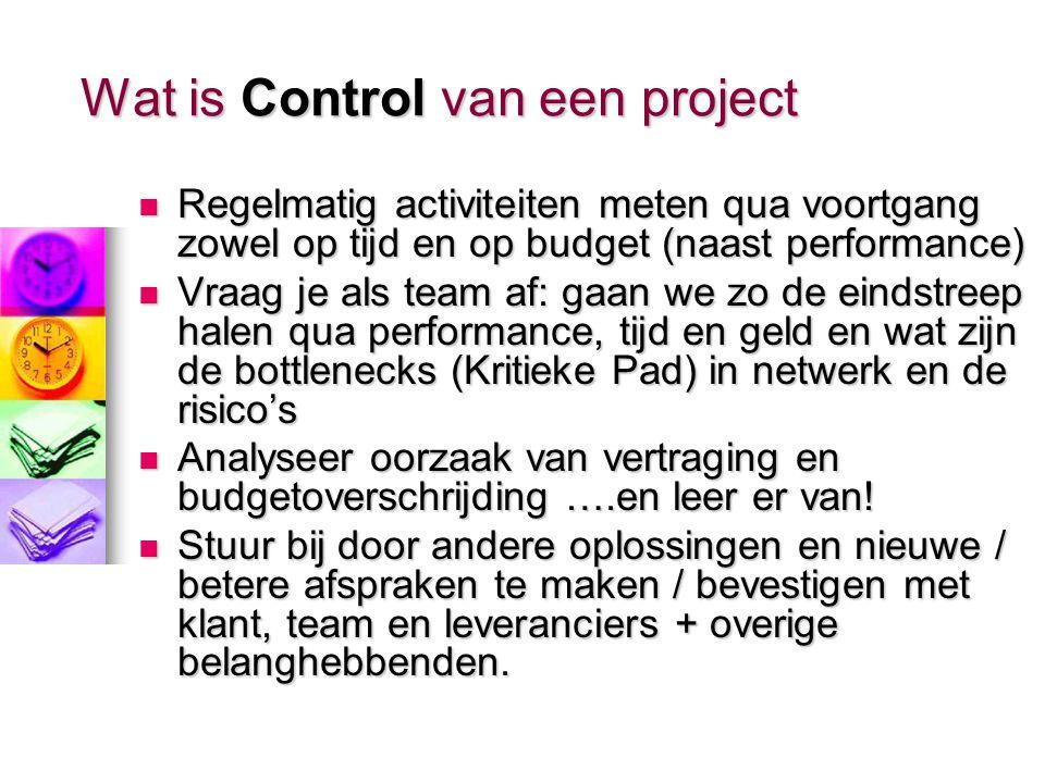 Wat is Planning van een project Een meetbaar resultaat van het project doel (Scope) omschrijven en vertalen & opdelen naar concrete activiteiten (Work