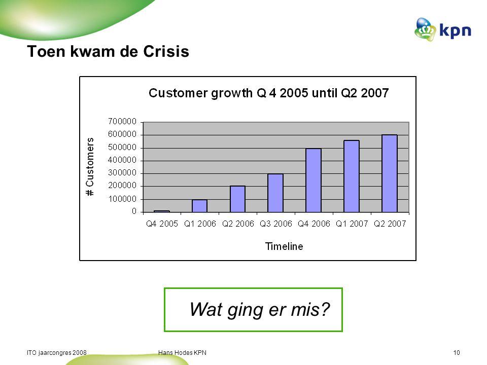 ITO jaarcongres 2008 Hans Hodes KPN10 Toen kwam de Crisis Wat ging er mis?