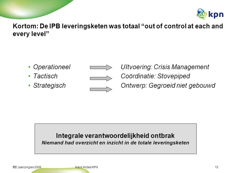 "ITO jaarcongres 2008 Hans Hodes KPN13 Kortom: De IPB leveringsketen was totaal ""out of control at each and every level"" Operationeel UItvoering: Crisi"
