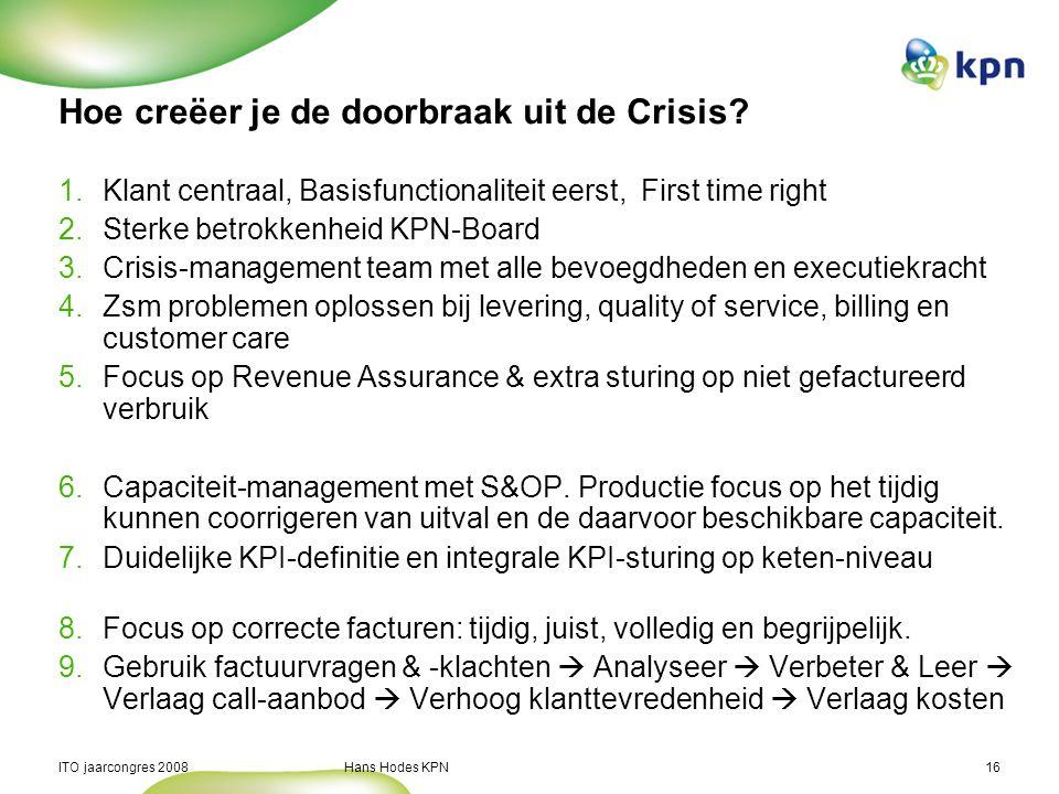 ITO jaarcongres 2008 Hans Hodes KPN16 Hoe creëer je de doorbraak uit de Crisis? 1.Klant centraal, Basisfunctionaliteit eerst, First time right 2.Sterk