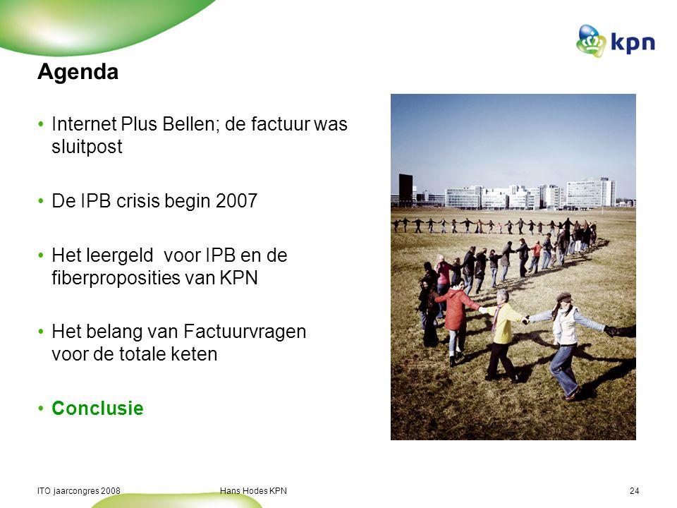 ITO jaarcongres 2008 Hans Hodes KPN24 Agenda Internet Plus Bellen; de factuur was sluitpost De IPB crisis begin 2007 Het leergeld voor IPB en de fiber