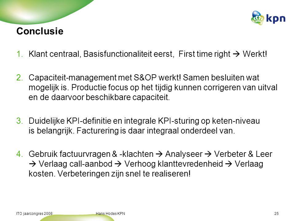 ITO jaarcongres 2008 Hans Hodes KPN25 Conclusie 1.Klant centraal, Basisfunctionaliteit eerst, First time right  Werkt! 2.Capaciteit-management met S&