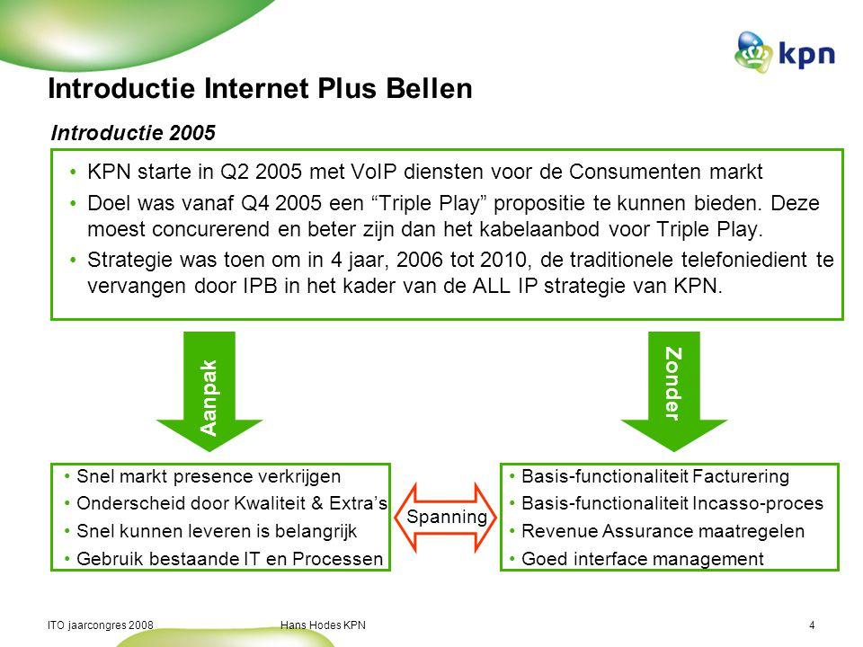 ITO jaarcongres 2008 Hans Hodes KPN4 Introductie Internet Plus Bellen KPN starte in Q2 2005 met VoIP diensten voor de Consumenten markt Doel was vanaf