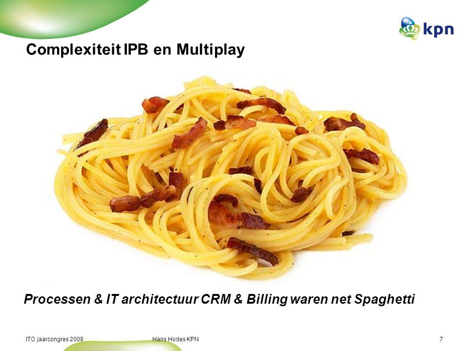 ITO jaarcongres 2008 Hans Hodes KPN7 Complexiteit IPB en Multiplay Processen & IT architectuur CRM & Billing waren net Spaghetti