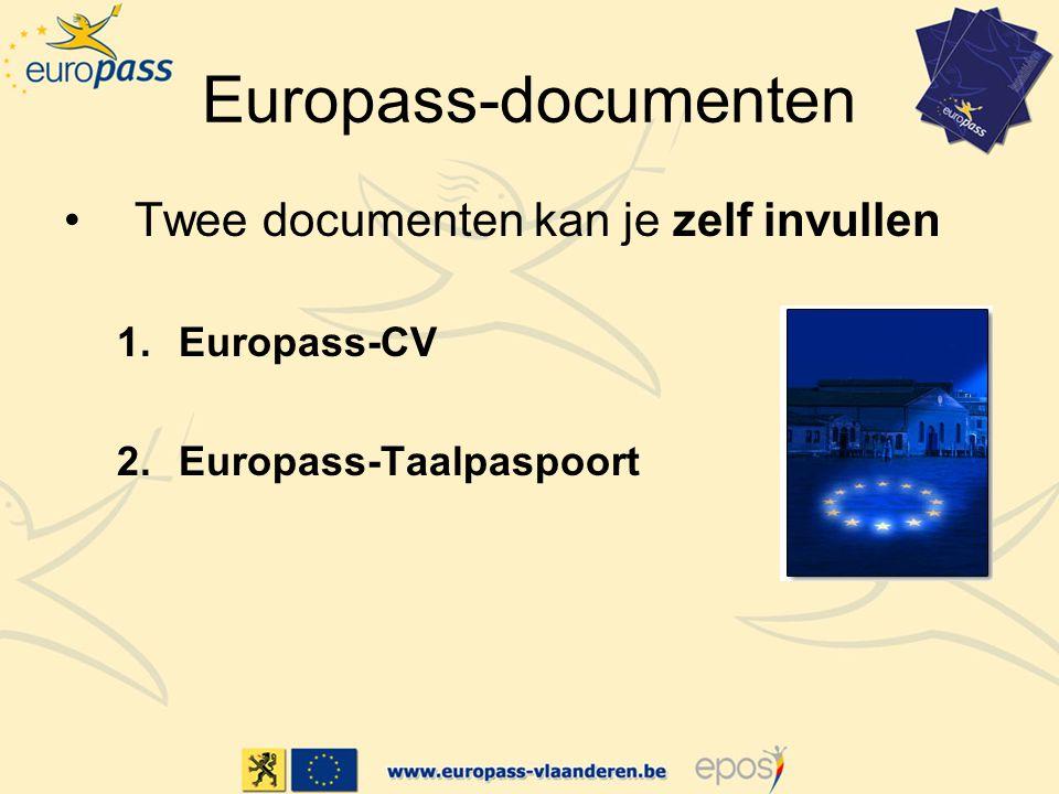 Europass-documenten Twee documenten kan je zelf invullen 1.Europass-CV 2.Europass-Taalpaspoort