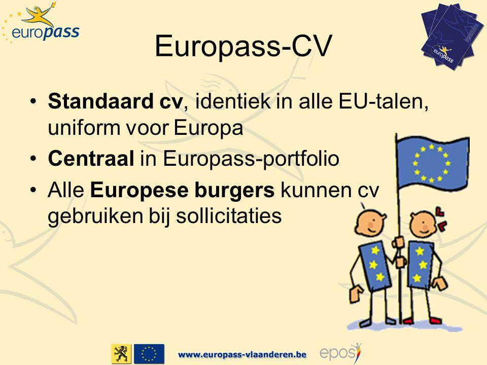 Europass-CV Standaard cv, identiek in alle EU-talen, uniform voor Europa Centraal in Europass-portfolio Alle Europese burgers kunnen cv gebruiken bij