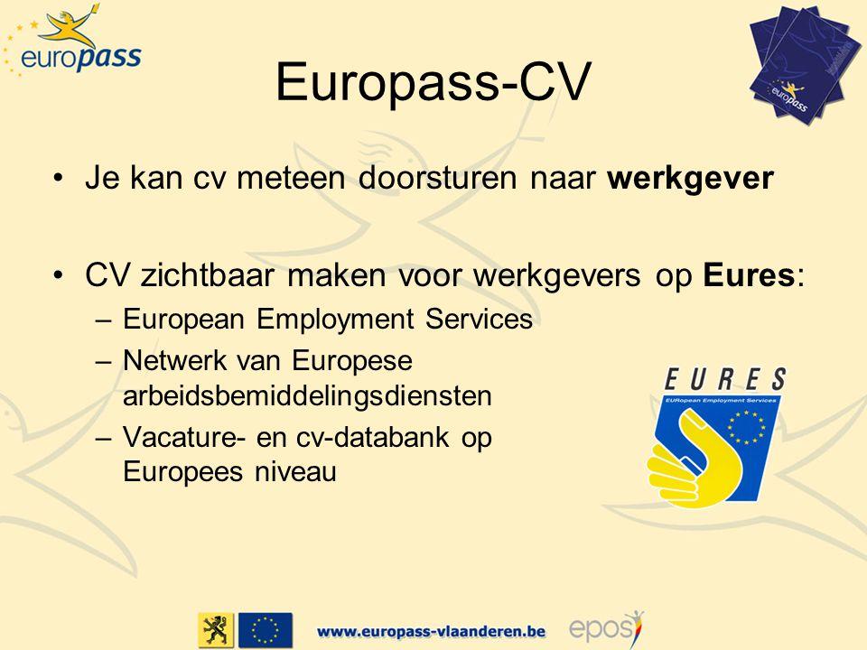 Europass-CV Je kan cv meteen doorsturen naar werkgever CV zichtbaar maken voor werkgevers op Eures: –European Employment Services –Netwerk van Europese arbeidsbemiddelingsdiensten –Vacature- en cv-databank op Europees niveau