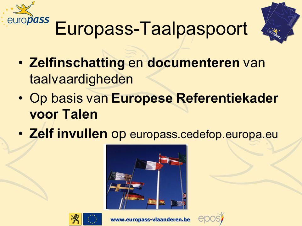 Europass-Taalpaspoort Zelfinschatting en documenteren van taalvaardigheden Op basis van Europese Referentiekader voor Talen Zelf invullen op europass.cedefop.europa.eu