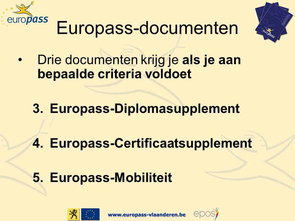 Europass-documenten Drie documenten krijg je als je aan bepaalde criteria voldoet 3.Europass-Diplomasupplement 4.Europass-Certificaatsupplement 5.