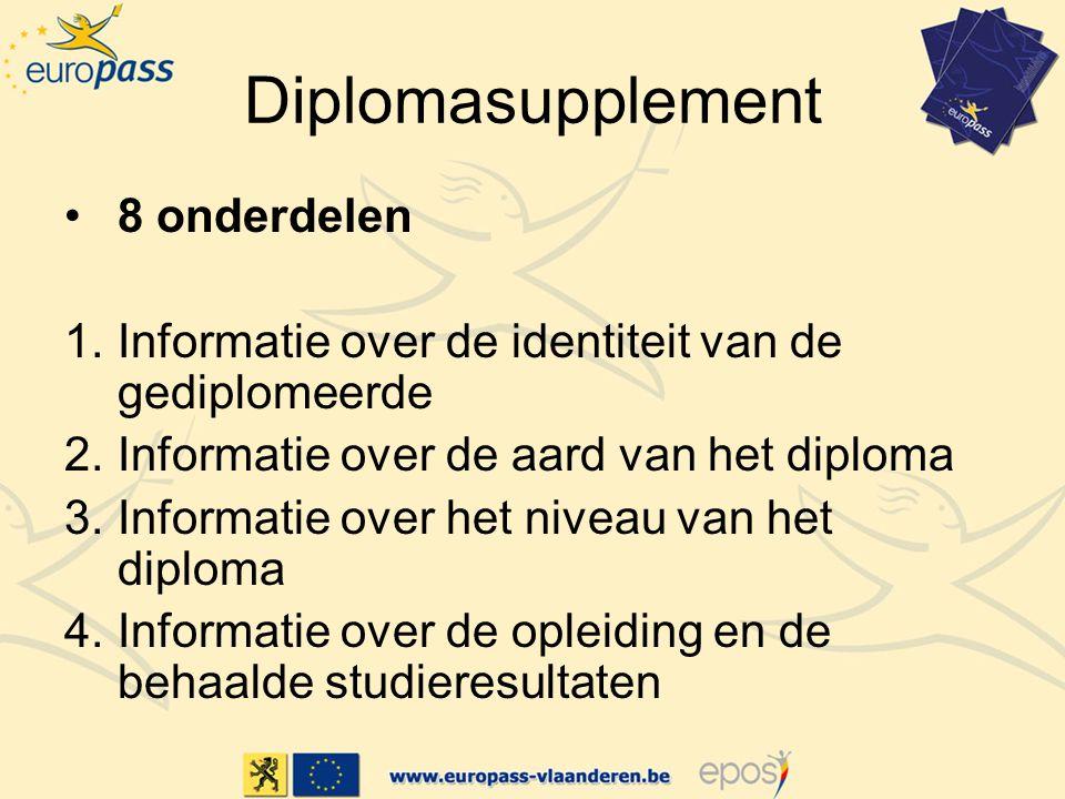 Diplomasupplement 8 onderdelen 1.Informatie over de identiteit van de gediplomeerde 2.Informatie over de aard van het diploma 3.Informatie over het niveau van het diploma 4.Informatie over de opleiding en de behaalde studieresultaten
