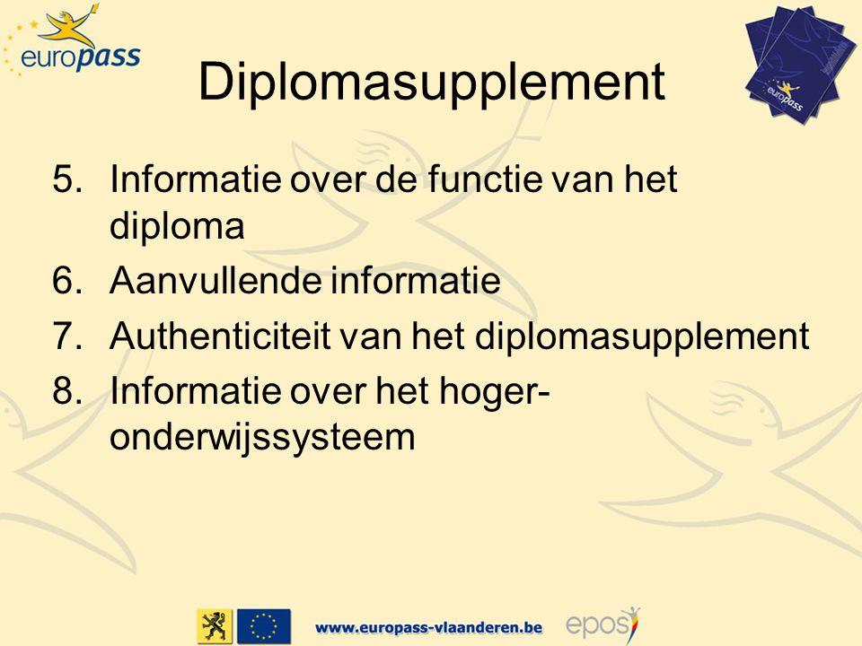 Diplomasupplement 5.Informatie over de functie van het diploma 6.Aanvullende informatie 7.Authenticiteit van het diplomasupplement 8.Informatie over het hoger- onderwijssysteem