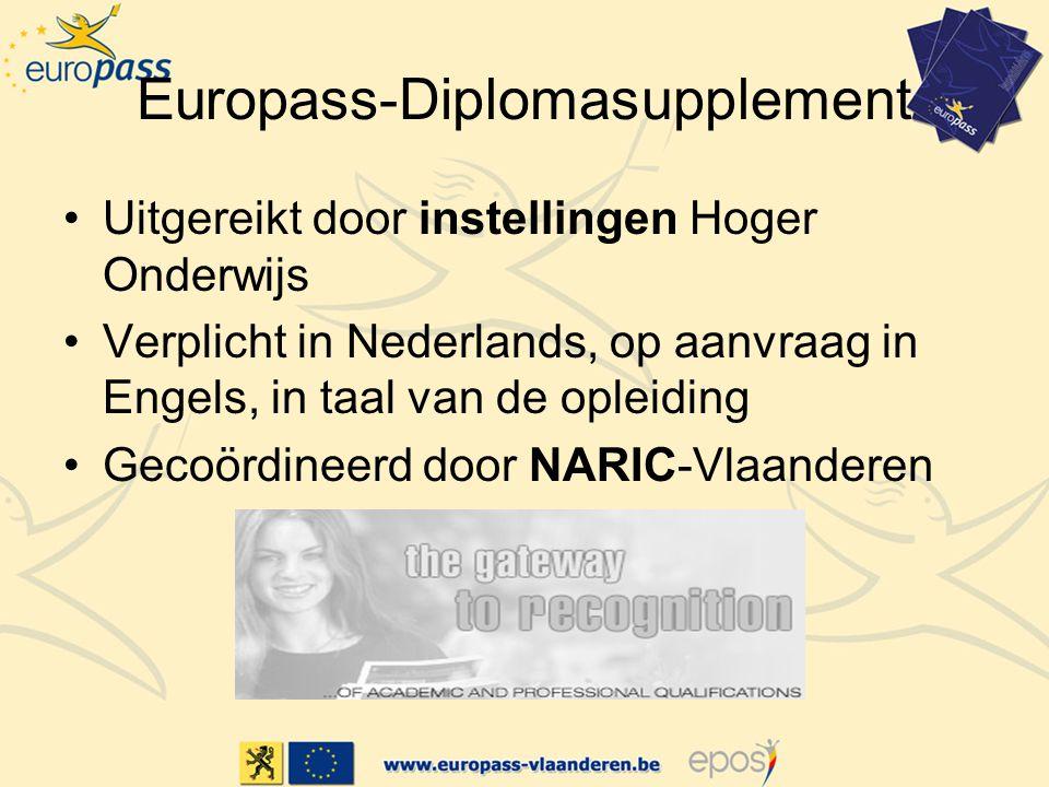 Europass-Diplomasupplement Uitgereikt door instellingen Hoger Onderwijs Verplicht in Nederlands, op aanvraag in Engels, in taal van de opleiding Gecoördineerd door NARIC-Vlaanderen