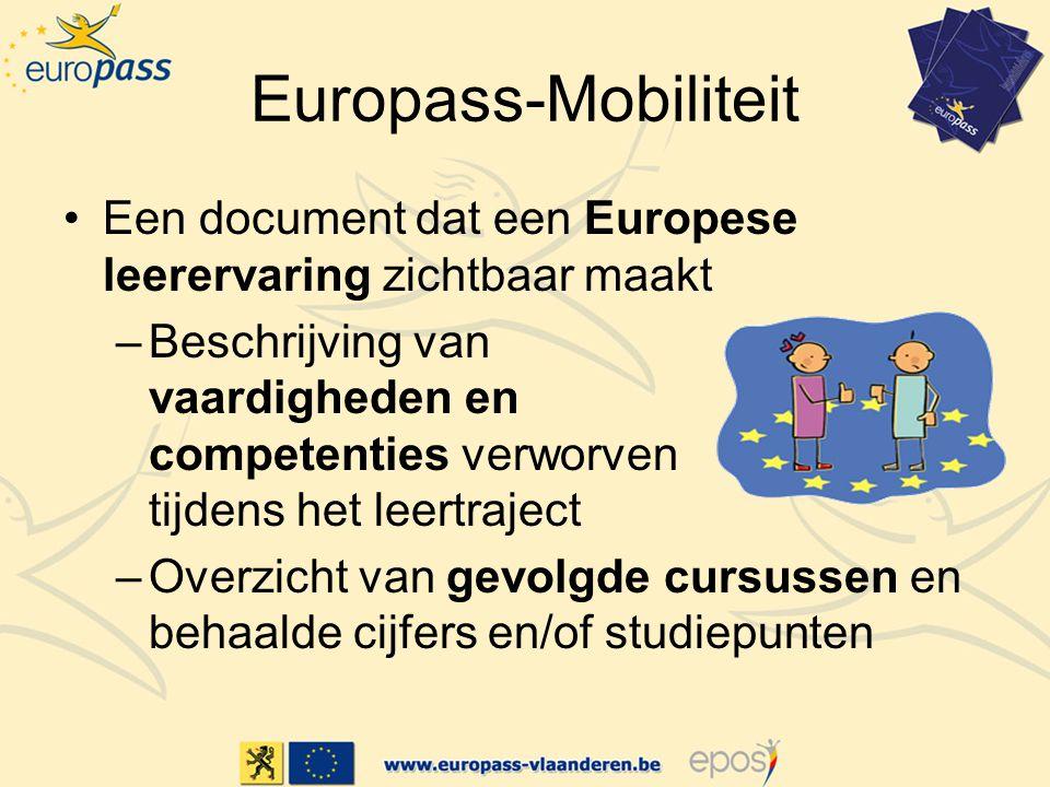 Europass-Mobiliteit Een document dat een Europese leerervaring zichtbaar maakt –Beschrijving van vaardigheden en competenties verworven tijdens het leertraject –Overzicht van gevolgde cursussen en behaalde cijfers en/of studiepunten