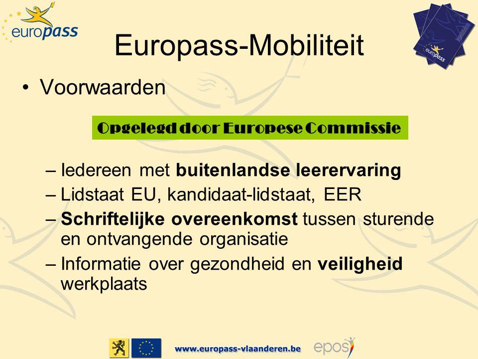Europass-Mobiliteit Voorwaarden –Iedereen met buitenlandse leerervaring –Lidstaat EU, kandidaat-lidstaat, EER –Schriftelijke overeenkomst tussen sturende en ontvangende organisatie –Informatie over gezondheid en veiligheid werkplaats Opgelegd door Europese Commissie