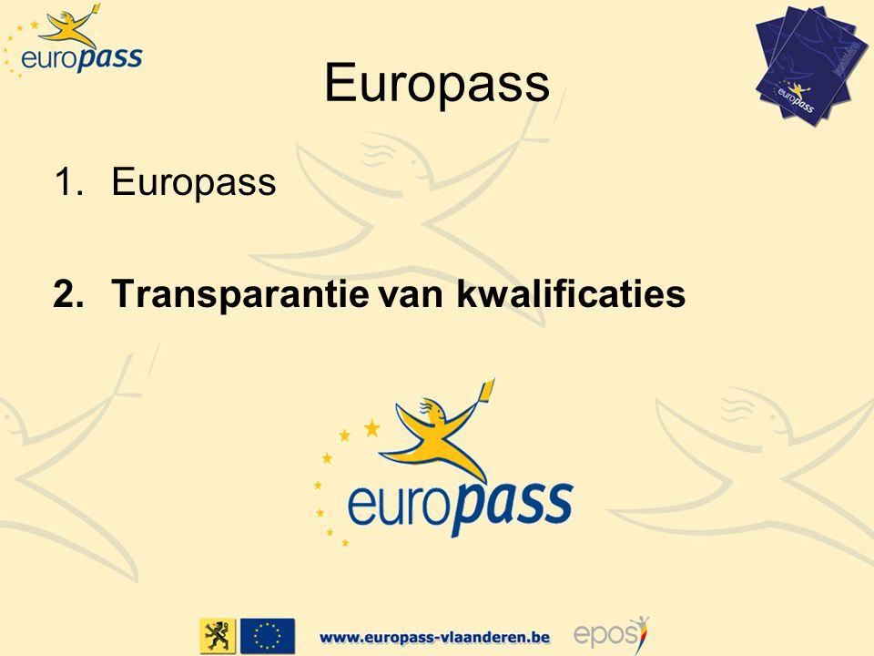 Europass 1.Europass 2.Transparantie van kwalificaties