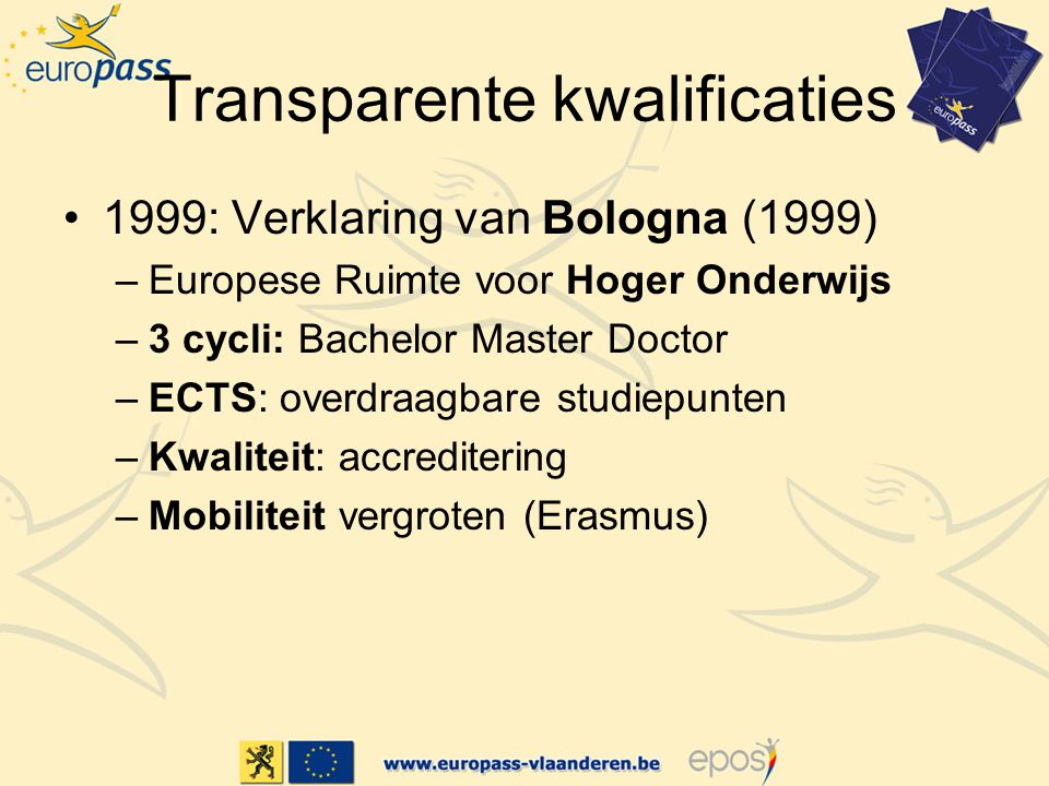 Transparente kwalificaties 1999: Verklaring van Bologna (1999) –Europese Ruimte voor Hoger Onderwijs –3 cycli: Bachelor Master Doctor –ECTS: overdraagbare studiepunten –Kwaliteit: accreditering –Mobiliteit vergroten (Erasmus)