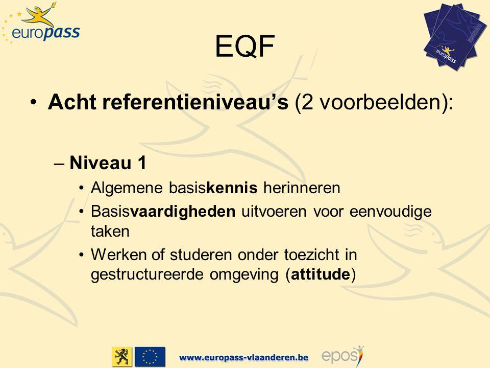 EQF Acht referentieniveau's (2 voorbeelden): –Niveau 1 Algemene basiskennis herinneren Basisvaardigheden uitvoeren voor eenvoudige taken Werken of studeren onder toezicht in gestructureerde omgeving (attitude)