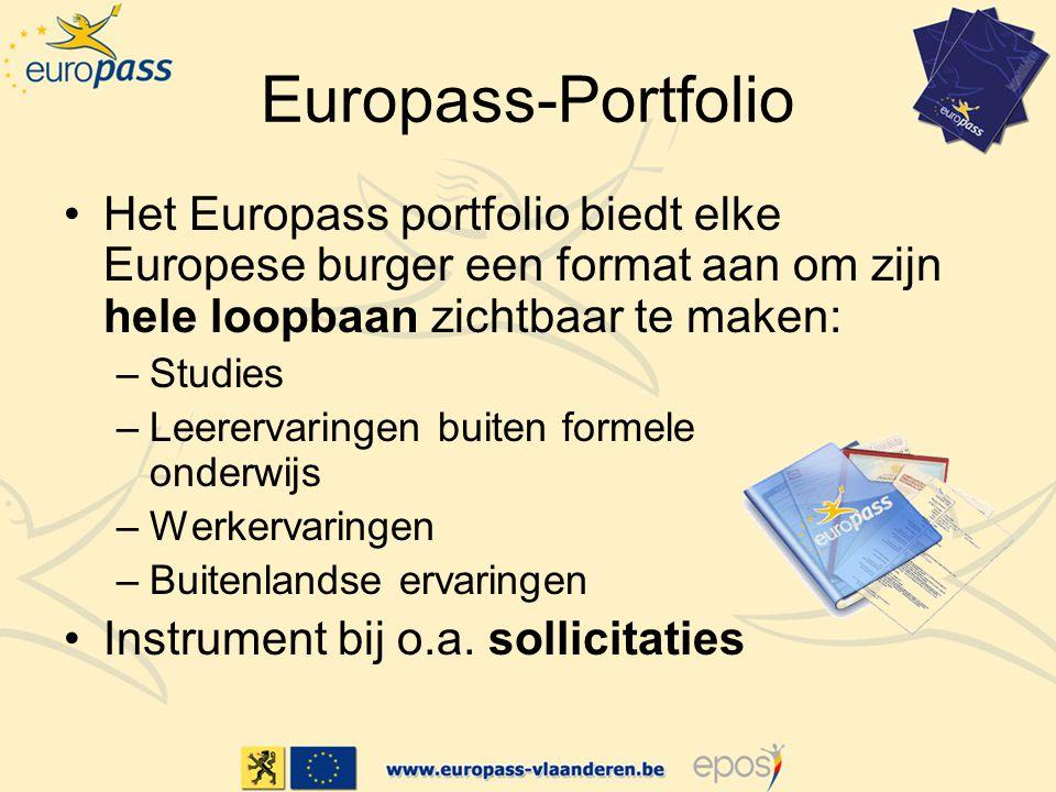 Europass-Portfolio Het Europass portfolio biedt elke Europese burger een format aan om zijn hele loopbaan zichtbaar te maken: –Studies –Leerervaringen buiten formele onderwijs –Werkervaringen –Buitenlandse ervaringen Instrument bij o.a.