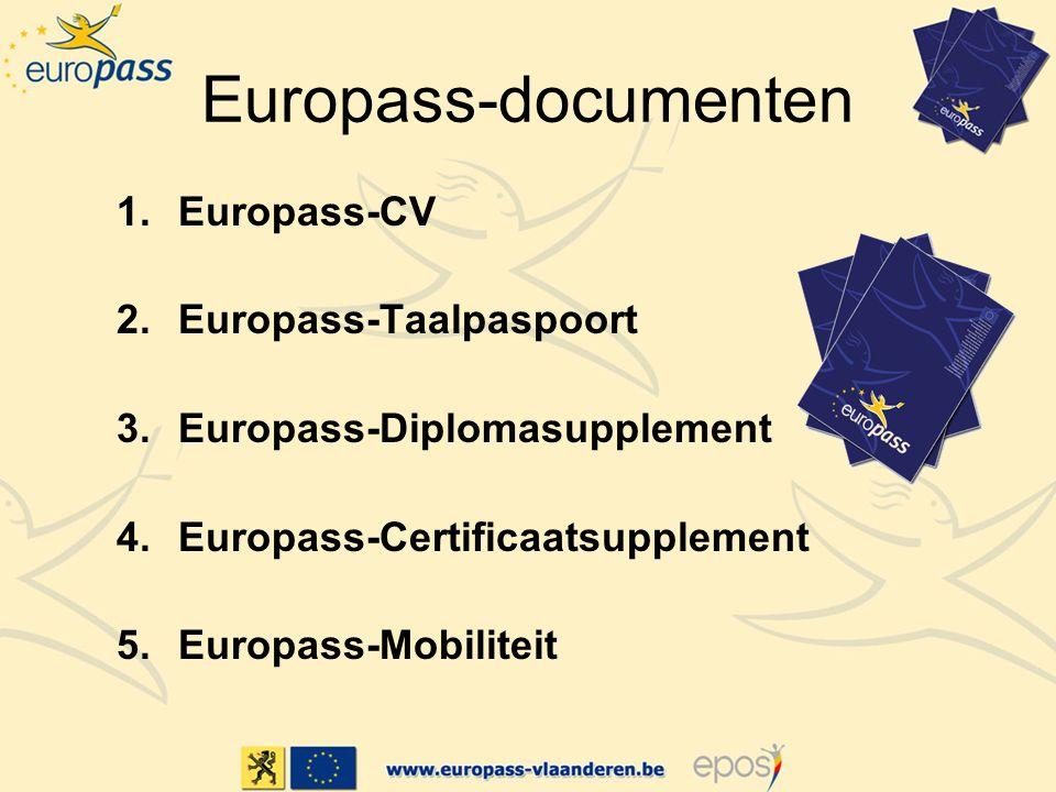 Europass-documenten 1.Europass-CV 2.Europass-Taalpaspoort 3.Europass-Diplomasupplement 4.Europass-Certificaatsupplement 5.Europass-Mobiliteit