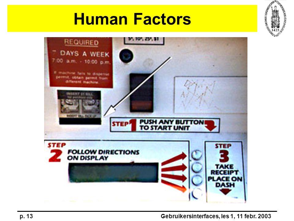 p. 13Gebruikersinterfaces, les 1, 11 febr. 2003 Human Factors