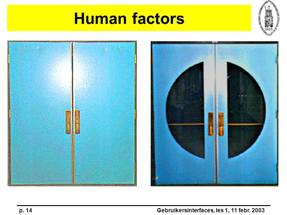 p. 14Gebruikersinterfaces, les 1, 11 febr. 2003 Human factors
