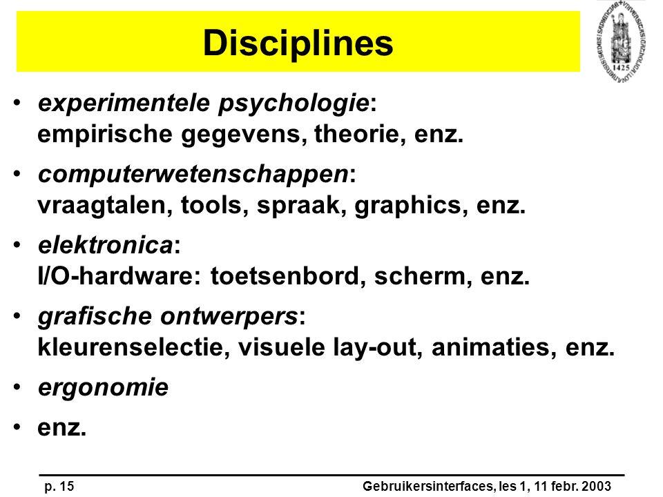 p. 15Gebruikersinterfaces, les 1, 11 febr. 2003 Disciplines experimentele psychologie: empirische gegevens, theorie, enz. computerwetenschappen: vraag