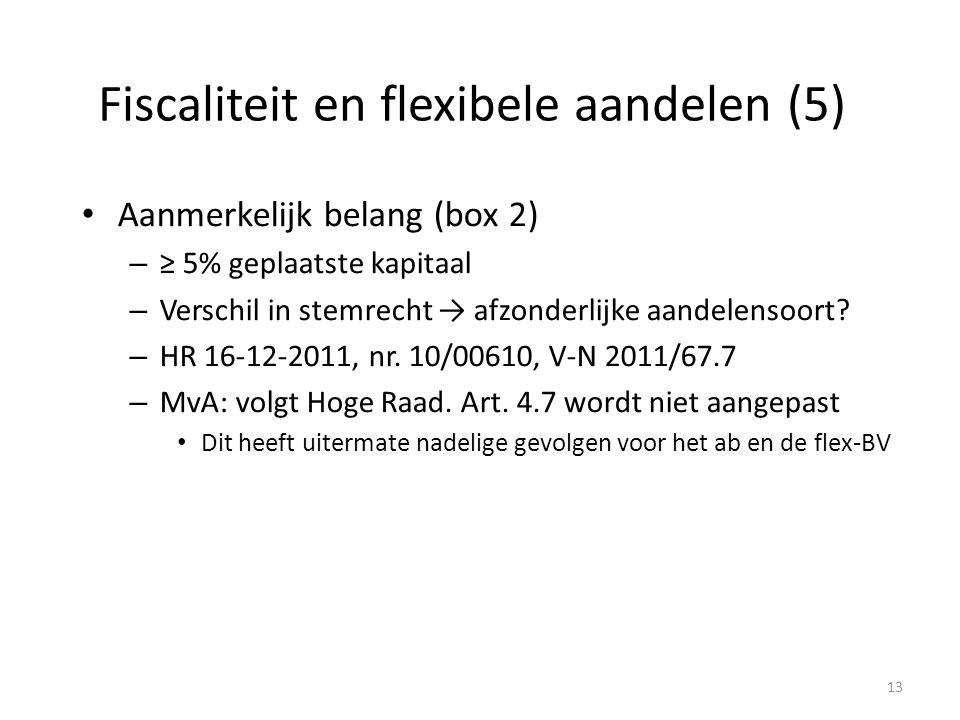 Fiscaliteit en flexibele aandelen (5) Aanmerkelijk belang (box 2) – ≥ 5% geplaatste kapitaal – Verschil in stemrecht → afzonderlijke aandelensoort? –