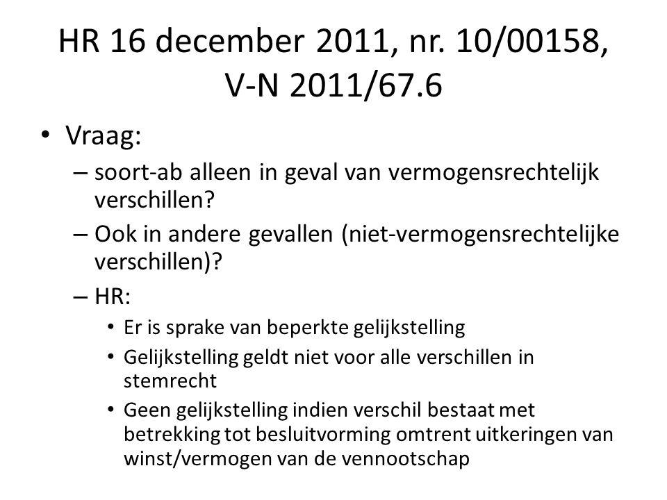 HR 16 december 2011, nr. 10/00158, V-N 2011/67.6 Vraag: – soort-ab alleen in geval van vermogensrechtelijk verschillen? – Ook in andere gevallen (niet