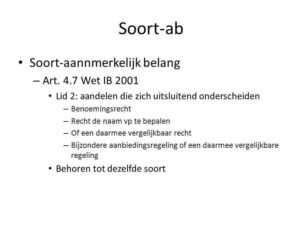 Soort-ab Soort-aannmerkelijk belang – Art. 4.7 Wet IB 2001 Lid 2: aandelen die zich uitsluitend onderscheiden – Benoemingsrecht – Recht de naam vp te