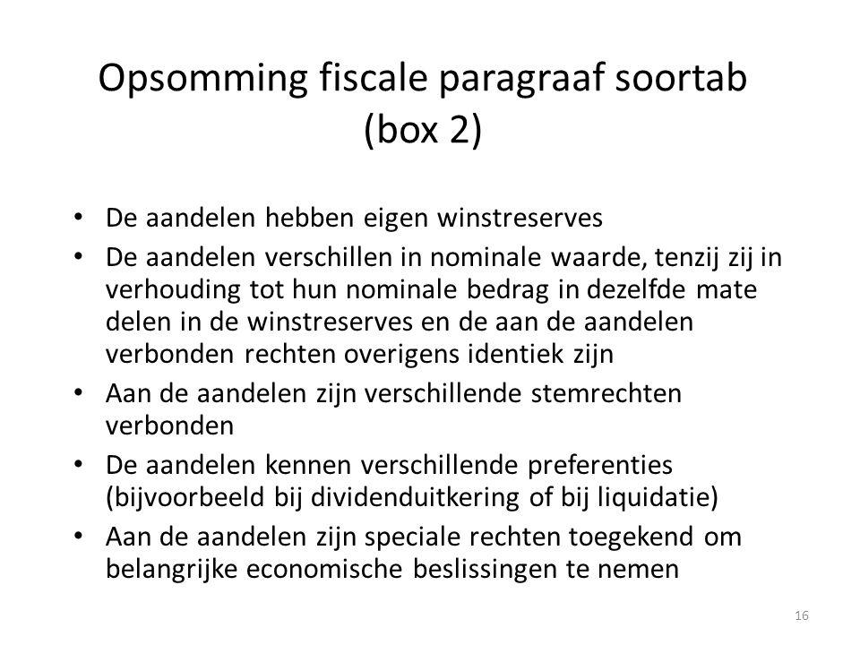 Opsomming fiscale paragraaf soortab (box 2) De aandelen hebben eigen winstreserves De aandelen verschillen in nominale waarde, tenzij zij in verhoudin