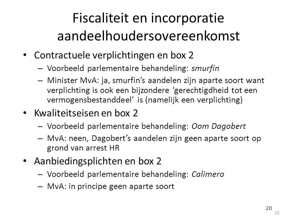 Fiscaliteit en incorporatie aandeelhoudersovereenkomst Contractuele verplichtingen en box 2 – Voorbeeld parlementaire behandeling: smurfin – Minister